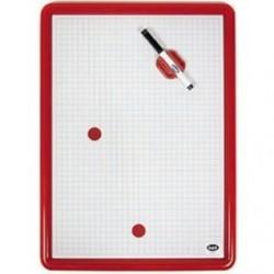 Lavagna magnetica -cornice in plastica colorata - 49x35 cm - tracciato quadri da 1 cm
