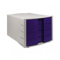 Cassettiera a 4 cassetti - grigio/cassetti blu