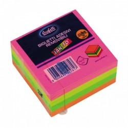 Cubi a foglietti riposizionabili Tak-To - 75x75 mm - Colori neon