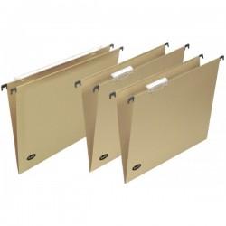 Cartelle sospese da cassetto Basic - da cassetto - Interasse 38,6 cm - Fondo a V - Cavalierino lenticolare lungo - avana