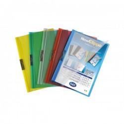 Cartellina colori trasparenti con clip - 30 fg - PVC - 29,7x21 cm - blu