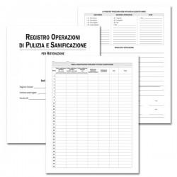 Registro per la Pulizia e la Sanificazione per Ristorazione - 28 pagg - F.to 31x24,5 cm.