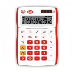 Calcolatrice Happy Color 12 digit - colore rosso - f.to 130x185 mm - 4 funzioni + memoria - formato big