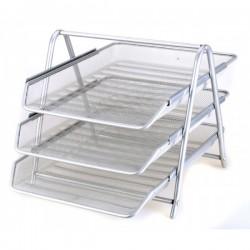 Vaschetta portacorrispondenza 3 livelli in metallo - colore silver