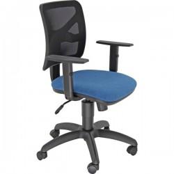 Sedia operativa con braccioli Navigator - tessuto blu rete nera