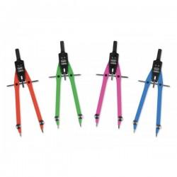 Compasso balaustrone Neon in zama - L 170mm - aste in 4 colori fluorescenti (blu, verde, fucsia e arancio)