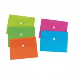 Buste in PP con bottone - 10,5x15 cm - 5 colori neon