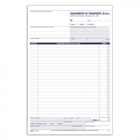 Documento di trasporto - Blocco - 50 fogli - 29,7x21,5 cm
