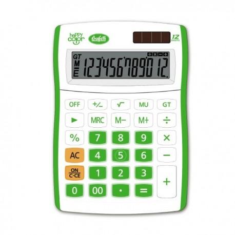 Calcolatrice Happy Color 12 digit - colore verde - f.to 130x185 mm - 4 funzioni + memoria - formato big