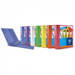 Cartella personalizzabile Happy Color -polipropilene - 4 anelli a D - Diametro 17 mm - colori assortiti