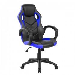 Sedia Gaming - braccioli fissi - similpelle nero-blu
