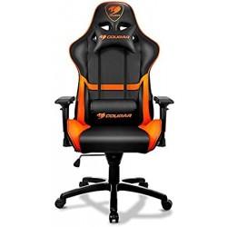 COUGAR ARMOR Sedia da gioco, seduta imbottita e schienale rigido, Nero/Arancione